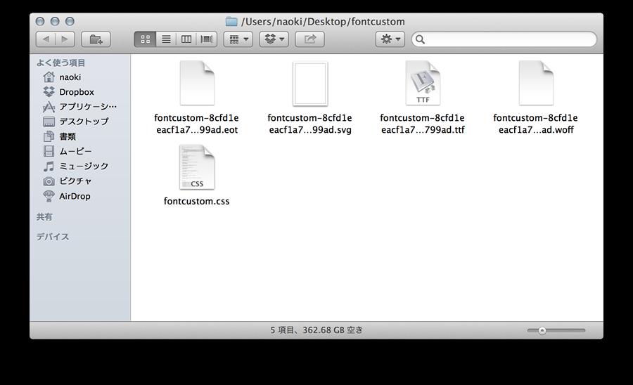 生成されたフォントファイルとCSS